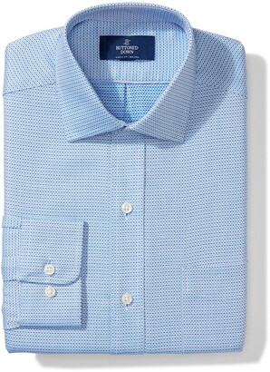 Buttoned Down Men's Classic Fit Spread Collar Pattern Non-Iron Dress Shirt