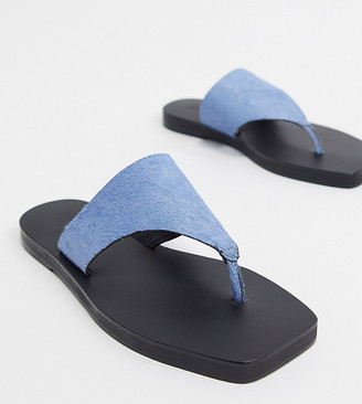 ASOS DESIGN Wide Fit Fae leather flat sandals in blue