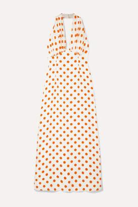 Emilia Wickstead Polka-dot Silk Halterneck Maxi Dress - Ivory