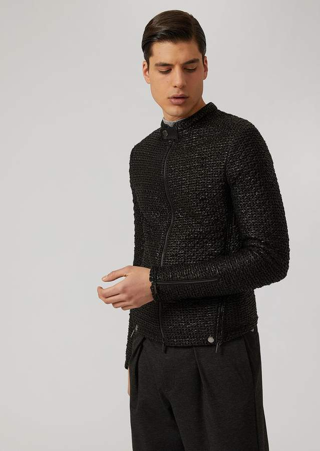 Emporio Armani Perforated And Woven Nappa Lambskin Jacket