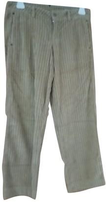 Blauer Beige Cotton Trousers for Women