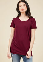 ModCloth Simplicity on a Saturday Tunic in Merlot in 2X - Short Sleeve Regular