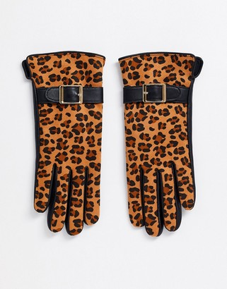 Barneys New York Barneys Originals real leather gloves in black and leopard print-Multi