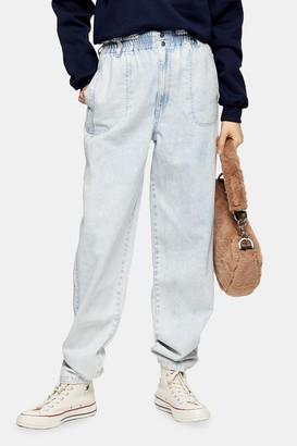 Topshop Bleach Wash Elastic Waist Baggy Jeans