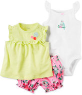 Carter's 3-Pc. Top, Bird Bodysuit and Bubble Shorts Set, Baby Girls (0-24 months)