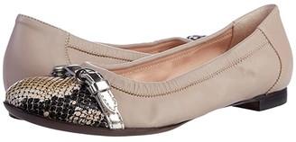 AGL Cap Toe Ballet Flat (Snakeskin/Poudre) Women's Shoes
