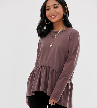 Asos DESIGN Petite smock top with long sleeve in wash