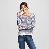 Women's Striped Hacci Pullover with Crochet Hem - Kit & Sky