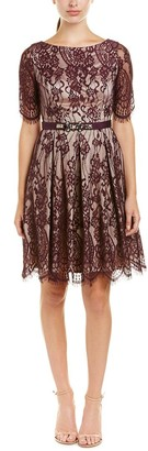 Brinker & Eliza Women's Lace Fit & Flare Dress with Elbow Length Sleeve