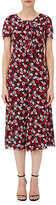 Saint Laurent Women's Poppy-Print Tie-Neck Midi-Dress