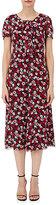 Saint Laurent Women's Poppy-Print Tie-Neck Midi-Dress