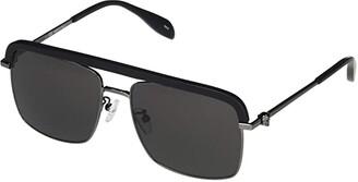 Alexander McQueen AM0258S (Ruthenium) Fashion Sunglasses