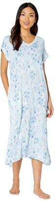 Lauren Ralph Lauren Rayon Spandex Jersey Knit Short Sleeve Drop Shoulders Split-Neck Ballet Gown (Blue Floral) Women's Pajama