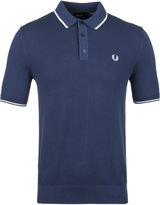 Fred Perry Navy Tipped Knitted Polo Shirt