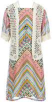 Xtraordinary Big Girls 7-16 Floral Crocheted Cardigan and Chevron Dress Set