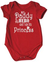 Petitebella Father's Day Dress Daddy Is My Hero Crown Cotton Bodysuit Romper Nb-18m (12-18 Months)