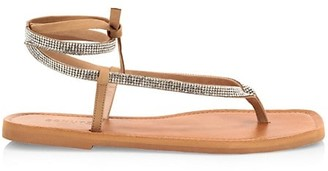 Schutz Abdula Crystal & Leather Thong Sandals