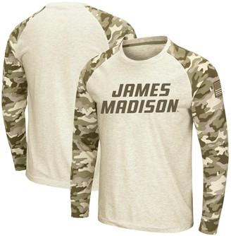 Colosseum Men's Oatmeal James Madison Dukes OHT Military Appreciation Desert Camo Raglan Long Sleeve T-Shirt