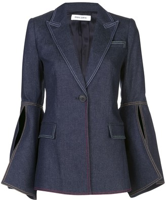 Prabal Gurung Bell Sleeve Denim Blazer