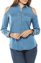 Peter Nygard Petite Cold Shoulder Button Front Blouse