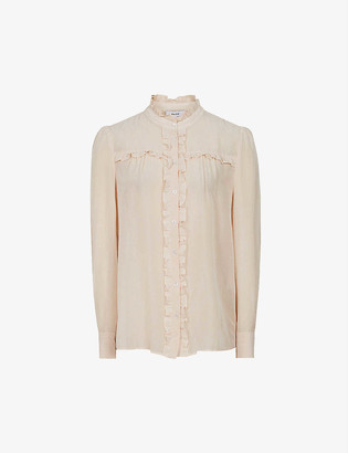 Reiss Jemma ruffle cotton-blend blouse