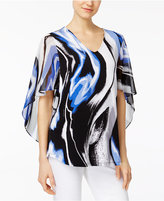 Alfani Petite Printed Flutter-Sleeve Top, Only at Macy's