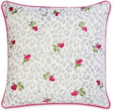 Betsey Johnson Polished Punk Leopard and Rosebud Embroidered Throw Pillow in White