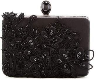 Oscar de la Renta Sequin-Embroidered Silk Rogan Clutch