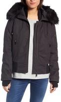 French Connection Women's Faux Fur Trim Wax Cotton Bomber Jacket