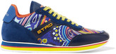 Etro On The Run leather and suede-trimmed printed neoprene sneakers