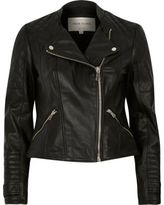 River Island Womens Black leather quilted collarless biker jacket
