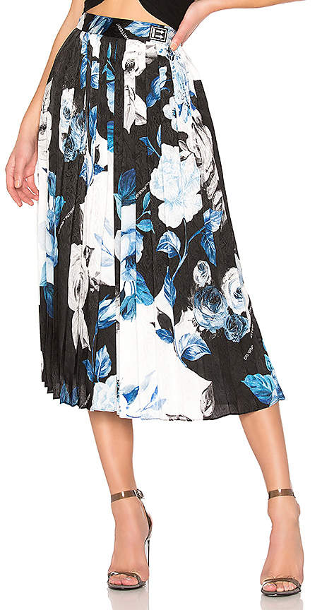 Off-White Floral Plisse Skirt
