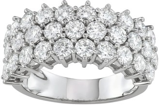 Charles & Colvard 14k White Gold 3 Carat T.W. Lab-Created Moissanite 3 Row Ring