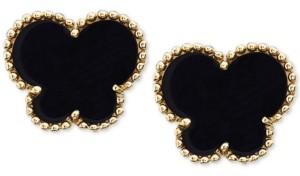 Effy Onyx (9 x 7 mm) Butterfly Stud Earrings in 14k Gold