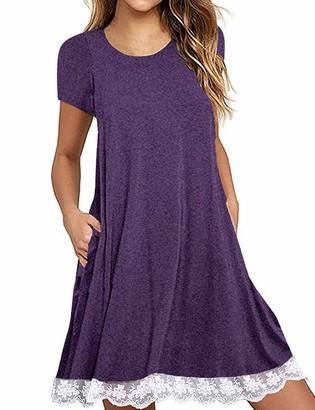 Halife Women's Summer Fall Short Sleeve/Long Sleeve Lace Hem T-Shirt Loose Dress with Pockets - Purple - Small