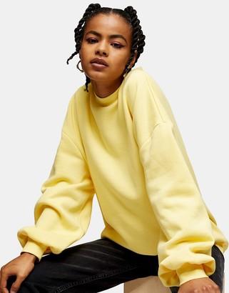 Topshop Considered balloon sleeve sweatshirt in light yellow