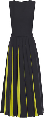Valentino Pleated Two-tone Wool And Silk-blend Crepe Midi Dress