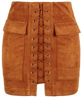 PERSUN Women's Curvy Faux Suede High Waist Lace Up A-line Mini Bodycorn Skirt