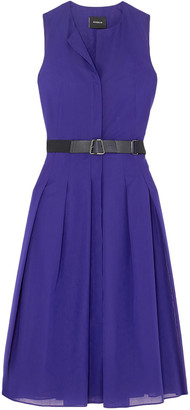 Akris Belted Pleated Cotton-voile Midi Dress