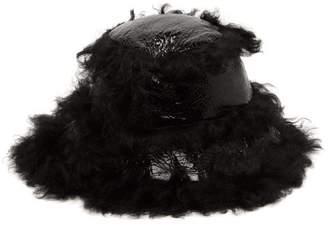 Marques Almeida Marques'almeida - Shearling-trim Craquelure-effect Vinyl Bucket Hat - Womens - Black