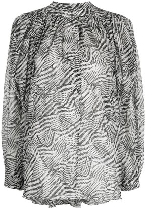 Isabel Marant Abstract-Print Pleated Blouse