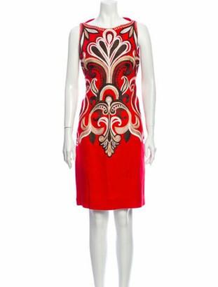 Naeem Khan Linen Knee-Length Dress Red