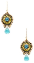 Miguel Ases Beaded Disc Dangle Drop Earrings