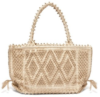 Antonello Tedde Linen And Cotton Diamond-weave Tote Bag - Womens - Beige Multi