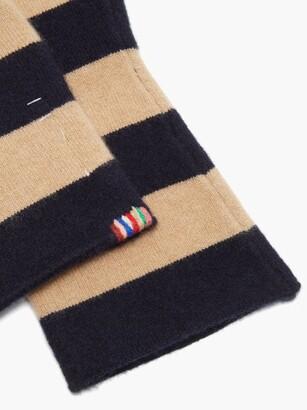 Extreme Cashmere Nina Striped Cashmere Mittens - Navy Multi