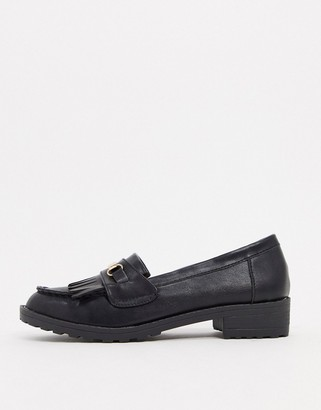Raid Kiltie fringed flat loafers in black with gold trim