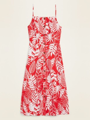 Old Navy Linen-Blend Button-Front Printed Cami Midi Dress for Women