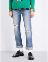 Gucci Distressed regular-fit straight jeans