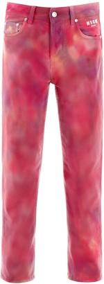 MSGM Tie-Dye Straight Leg Denim Jeans