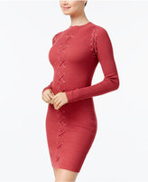Planet Gold Juniors' Ribbed Lace-Up Bodycon Dress